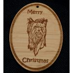 Custom engraved toy dog design wood Christmas ornament with personalized engraved text.