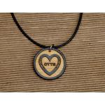 Custom engraved wood OTTB horseshoe heart design charm on a leather necklace.