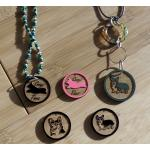 Engraved wood Welsh Corgi design circle charm.