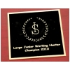 Engraved Square Black Brass Tack Trunk Plate - Breed Logo