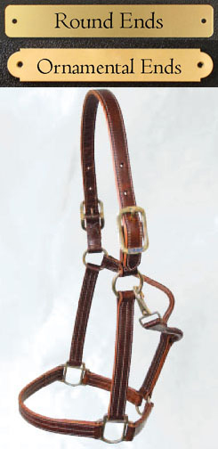 Walsh leather halters with engraved brass nameplate make great division champion horse show awards or barn gifts.