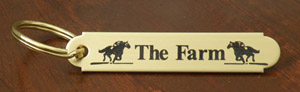 Brass engraved key chains make great equestrian gifts or horse show awards.