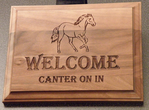 Walnut wood sign / plaque horse show award.