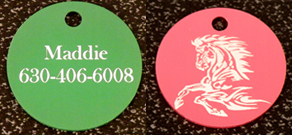 Colored aluminum key chains with laser engraved text and horse design work great for barn gifts and horse show awards.