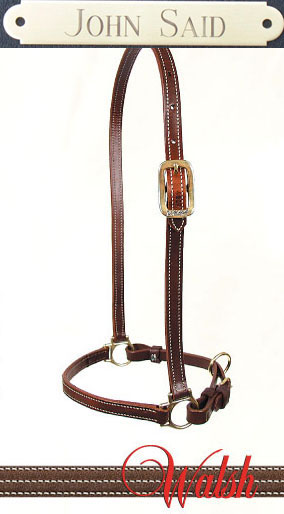 Walsh leather grooming halter with free engraved brass nameplate. Add your horse show name and division / class informtion to make a special horse show award or equestrian gift.