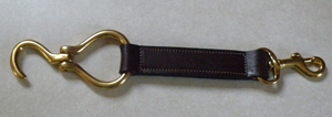 Leather hoof pick fobs with free brass engraved nameplate make good horse show awards and barn gifts.