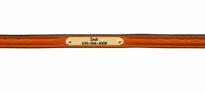 Edgewood Fancy Stitched Nameplate Leather Dog Collar - Tan