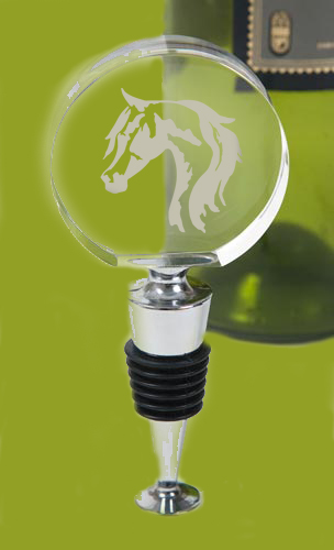 Custom engraved crystal wine bottle stopper with the horse design 5 of your choice.