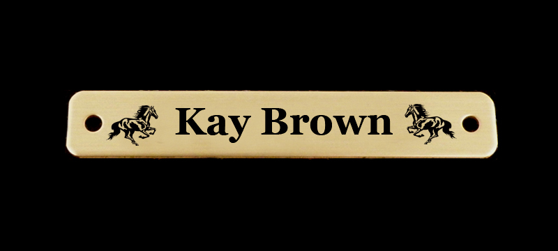 Personalized engraved Brass or Silver Bridle Nameplate - Horse Design 3