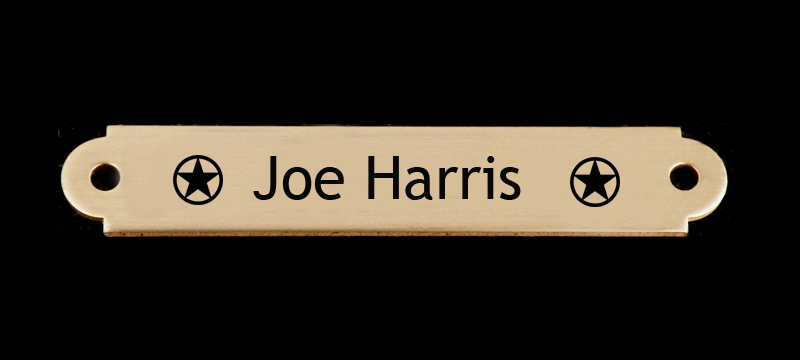 Engraved Brass or Silver Horse Bridle Nameplate - Star Designs