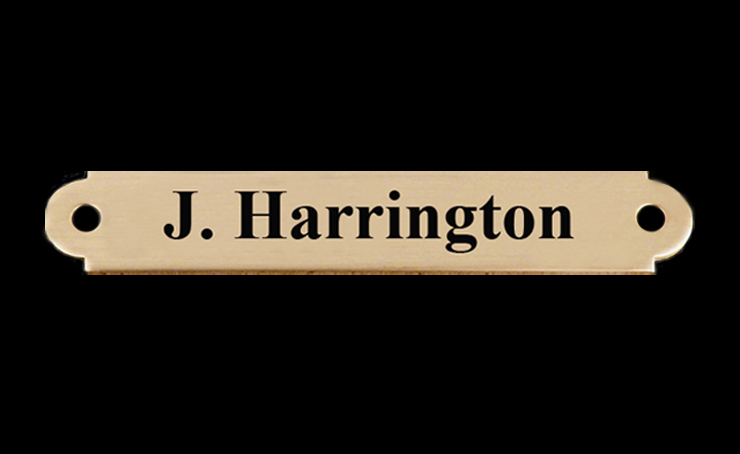 Personalized horse bridle nameplate with custom engraved text.
