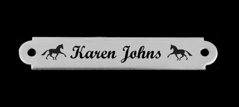 Custom engraved horse design 2 martingale plate with personalized text.