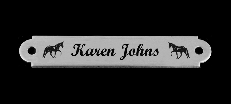 Personalized martingale nameplate with custom engraved horse design 6 and text.
