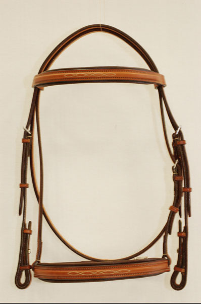"Fancy Stitched Raised Padded 1"" Edgewood Bridle with a padded noseband and browband"