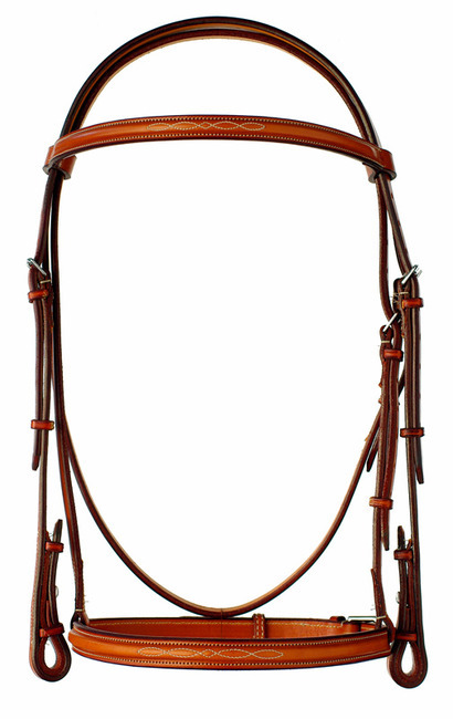 "Fancy stitched raised 1"" Edgewood leather horse bridle."
