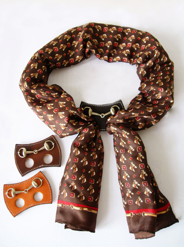 Equestrian Snaffle Bit Leather Scarf Ring