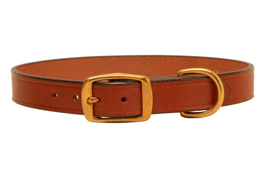 Oakbark bridle leather creased dog collar from Tory leather. Add an engraved dog collar nameplate for a complete dog collar.