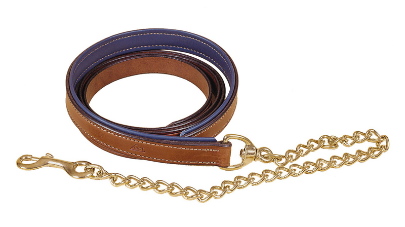 "Padded Leather Horse Lead Chain - 24"" Brass Chain"