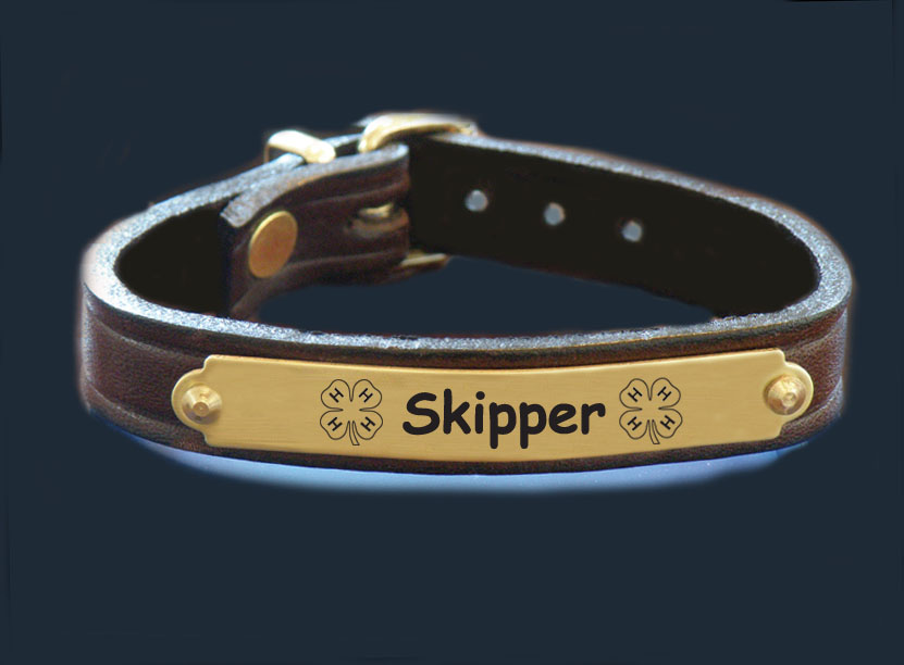 Custom engraved nameplate leather bracelet with 4-H logo and personalized text.