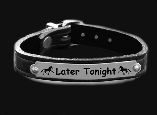 Personalized silver engraved nameplate bracelet with custom engraved text and horse design 2.