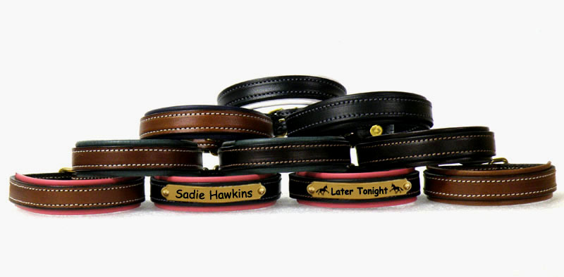 Custom engraved nameplate leather padded bracelet with sporting dog design and personalized engraved text.