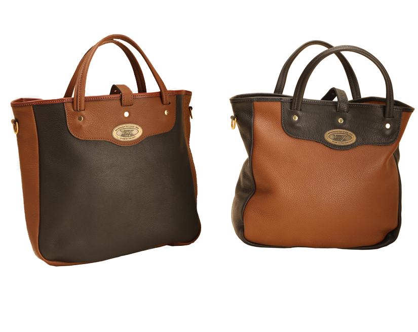 Two tone leather and brass equestrian tote bag from Tory Leather.