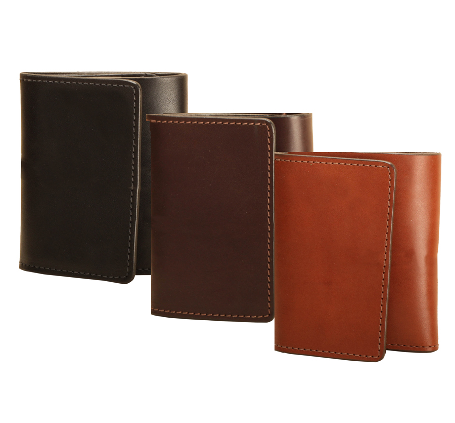 Bridle leather tri-fold equestrian wallet with a removable card / photo window from Tory Leather.