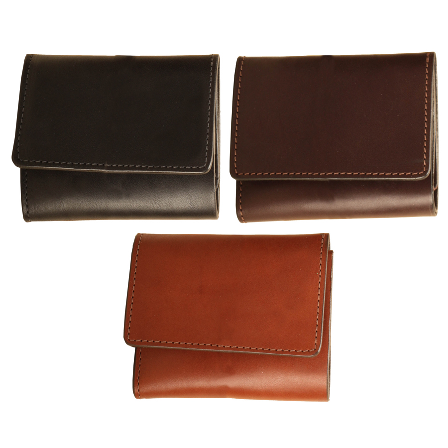 Bridle leather tri-fold equestrian wallet with an ID pocket from Tory Leather.
