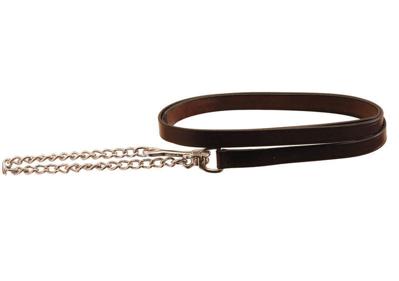 "Creased Leather Horse Lead - 24"" Nickel Chain"