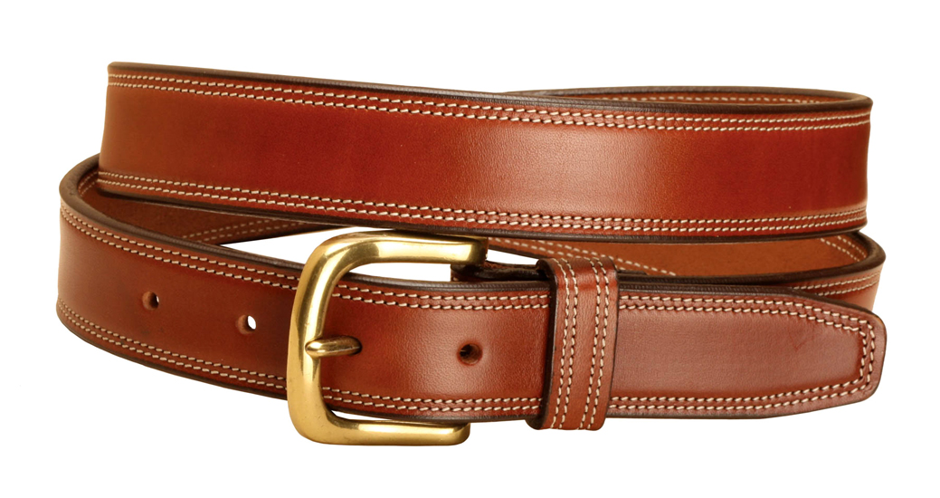 Double Row Edge Stitched Leather Belt - Equestrian