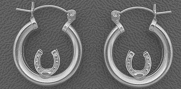 Silver Horseshoe Hoop Earrings - Equestrian Jewelry