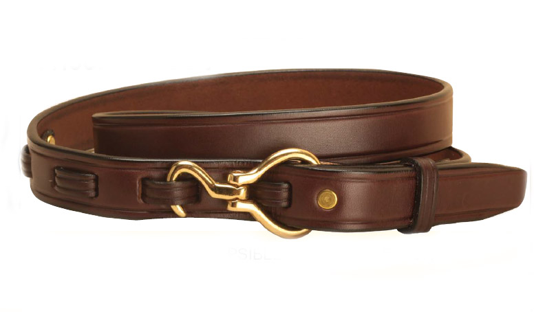 Equestrian Havana leather mini hoof pick belt with your choice of a silver or brass hoof pick closure.