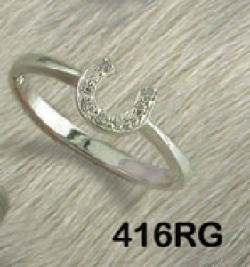 CZ Equestrian Horseshoe Ring - Horse Jewelry