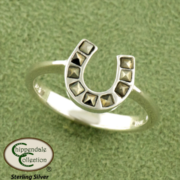 Marcasite Horseshoe Ring - Equestrian Jewelry