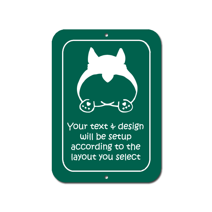 Personalized Welsh Corgi dog design plastic with custom engraved text.