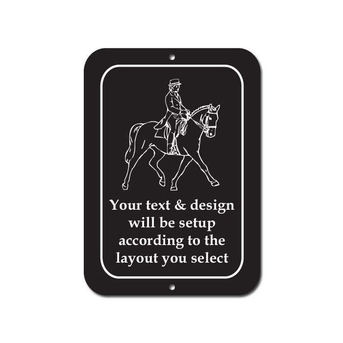Custom engraved horse design plastic sign.