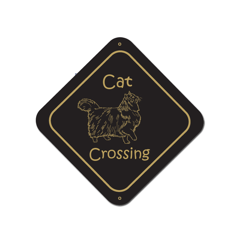 Custom engraved plastic cat sign with personalized engraved text.
