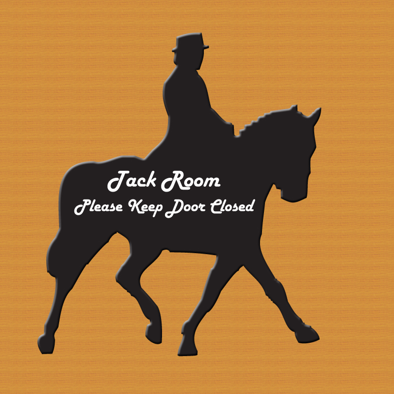 Custom engraved dressage horse and rider plastic sign.