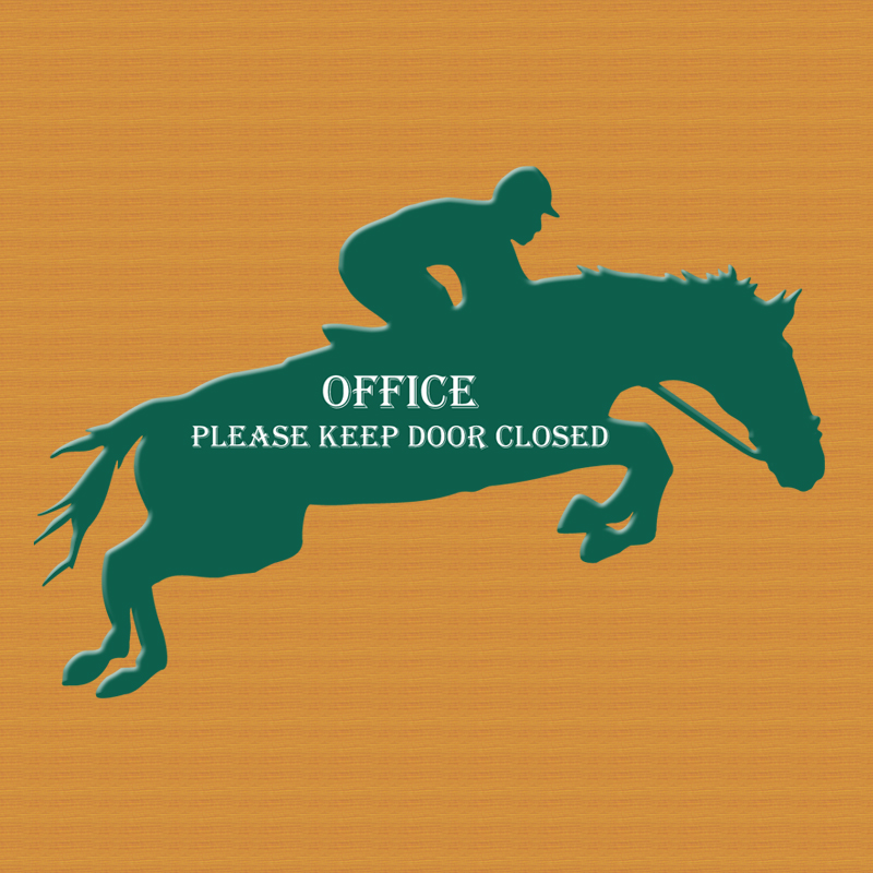 Personalized jumping horse plastic sign with custom engraved text.