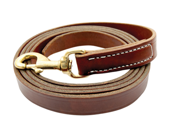 Chestnut leather horse lead made by Walsh Harness that comes with a brass snap.