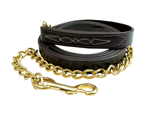 "Black fancy stitched horse lead with a 24"" brass chain from Walsh Harness."