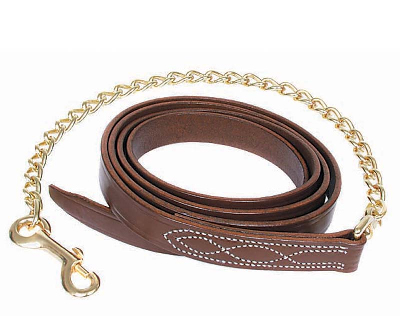 "Walsh Fancy Stitched Leather Lead Chain - 30"" Solid Brass Chain"