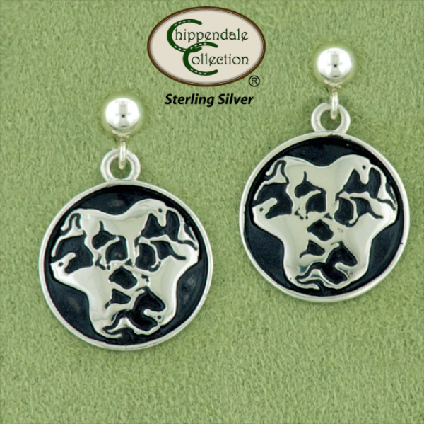 Celtic knotwork  triple horse sterling silver equestrian jewelry ball and post earrings.