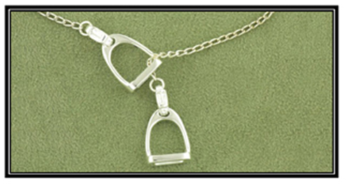 Double Stirrup Lariat Necklace - Horse Jewelry