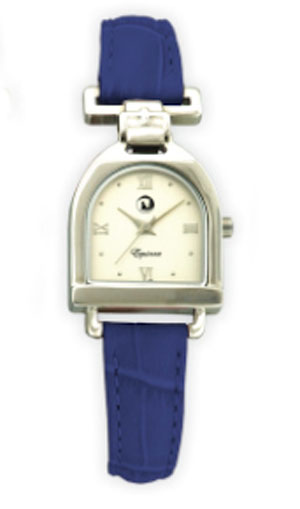 Stirrup Watch Silver  - Blue Crocodile Band