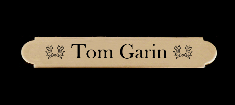 Brass engraved adhesive nameplate with personalized text and horse breed logo.