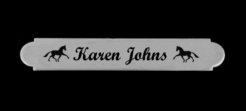 Custom engraved adhesive back silver nameplate with horse design 2.