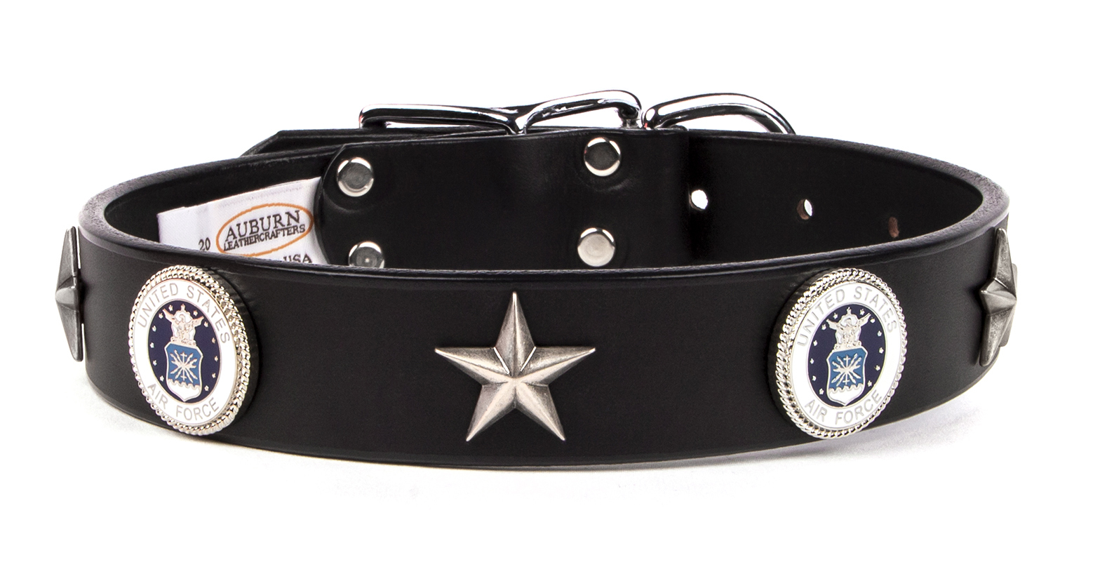Air force  emblem leather dog collar from Auburn Leathercrafters. Great gift for a friend or loved one in the air force that loves dogs.