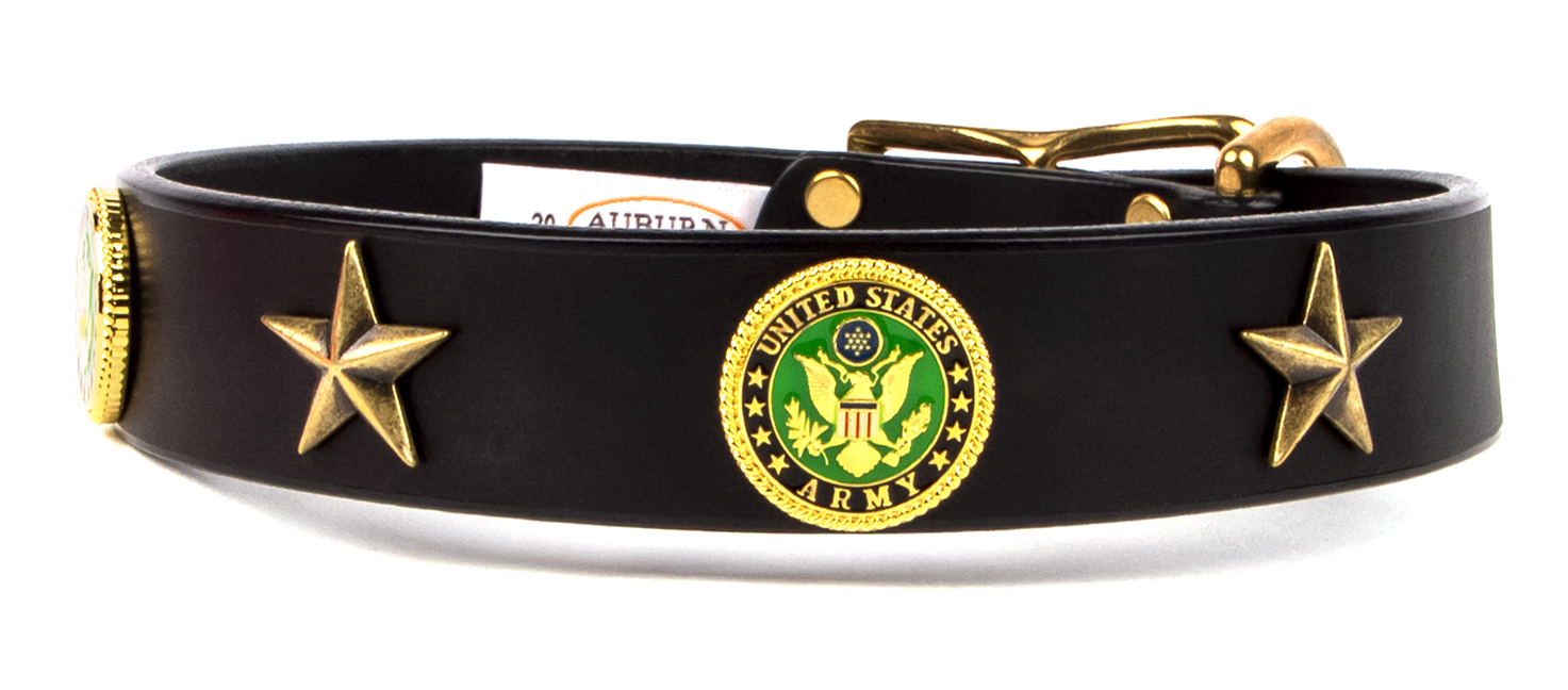 Army emblem leather dog collar from Auburn Leathercrafters. Great gift for a friend or loved one in the Army that loves dogs.