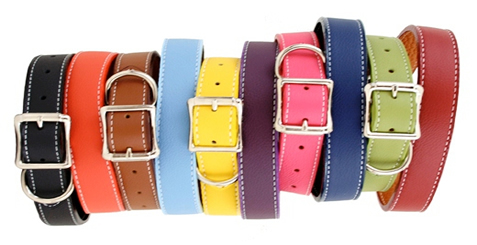 Tuscany leather dog collar made of luxurious Italian leather lined with leather for durability. Many colors to choose from.